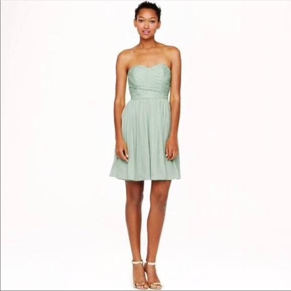 4a6e33af492b3 J. Crew Mint Green Pleated Strapless Dress 👗